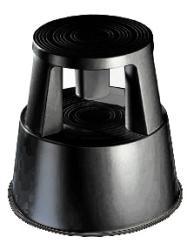 Wedo Trittschemel-Rollhocker, schwarz, aus bruchfestem Kunststoff